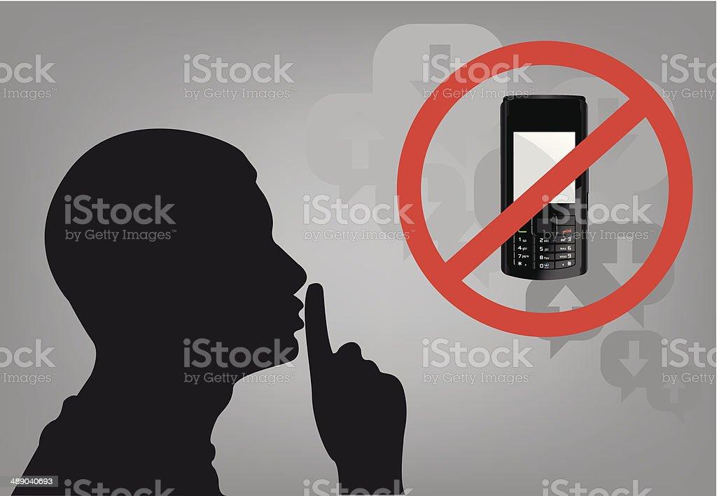 Shhh Mobile vector art illustration