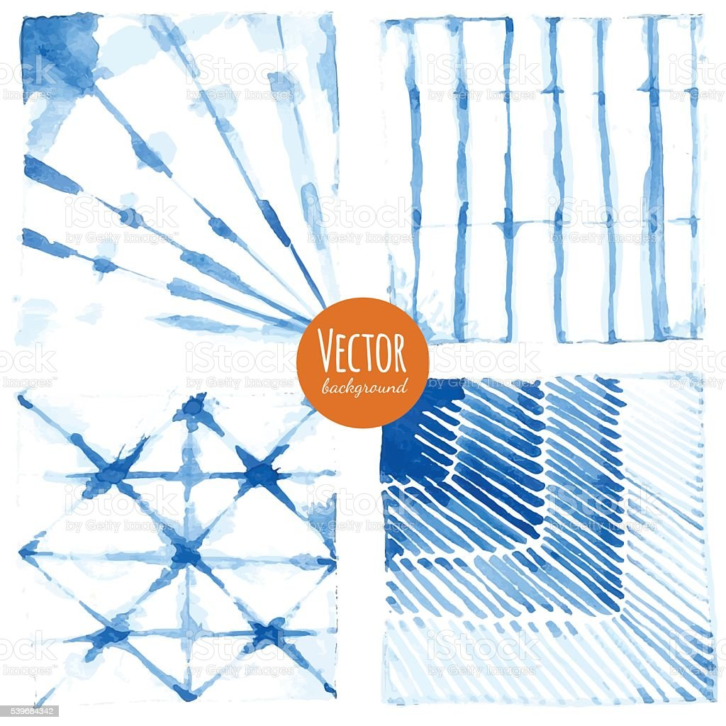 Shibori indigo dyed watercolor. vector art illustration