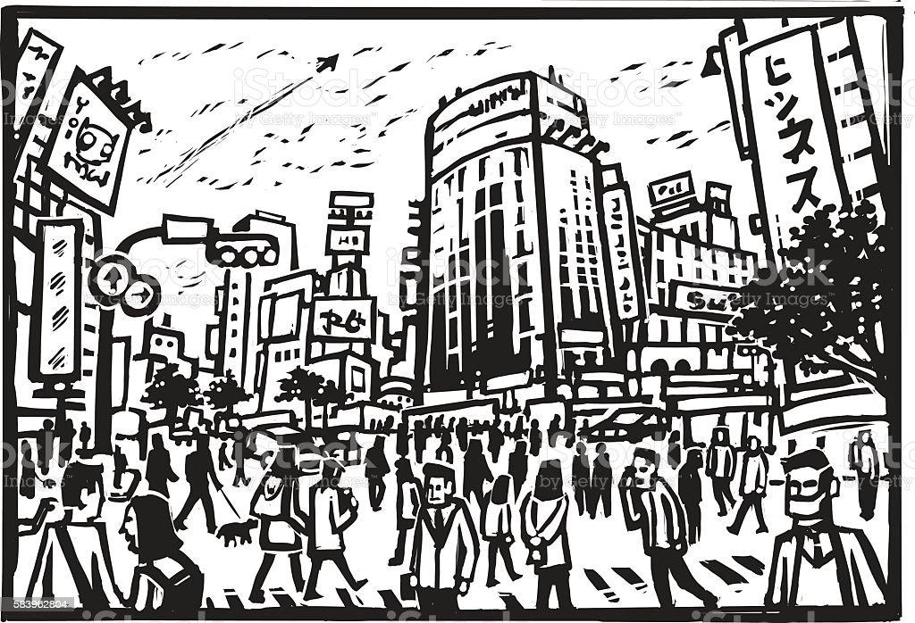 Shibuya Crossing vector art illustration