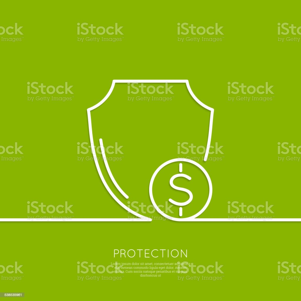 Shield and coin vector art illustration