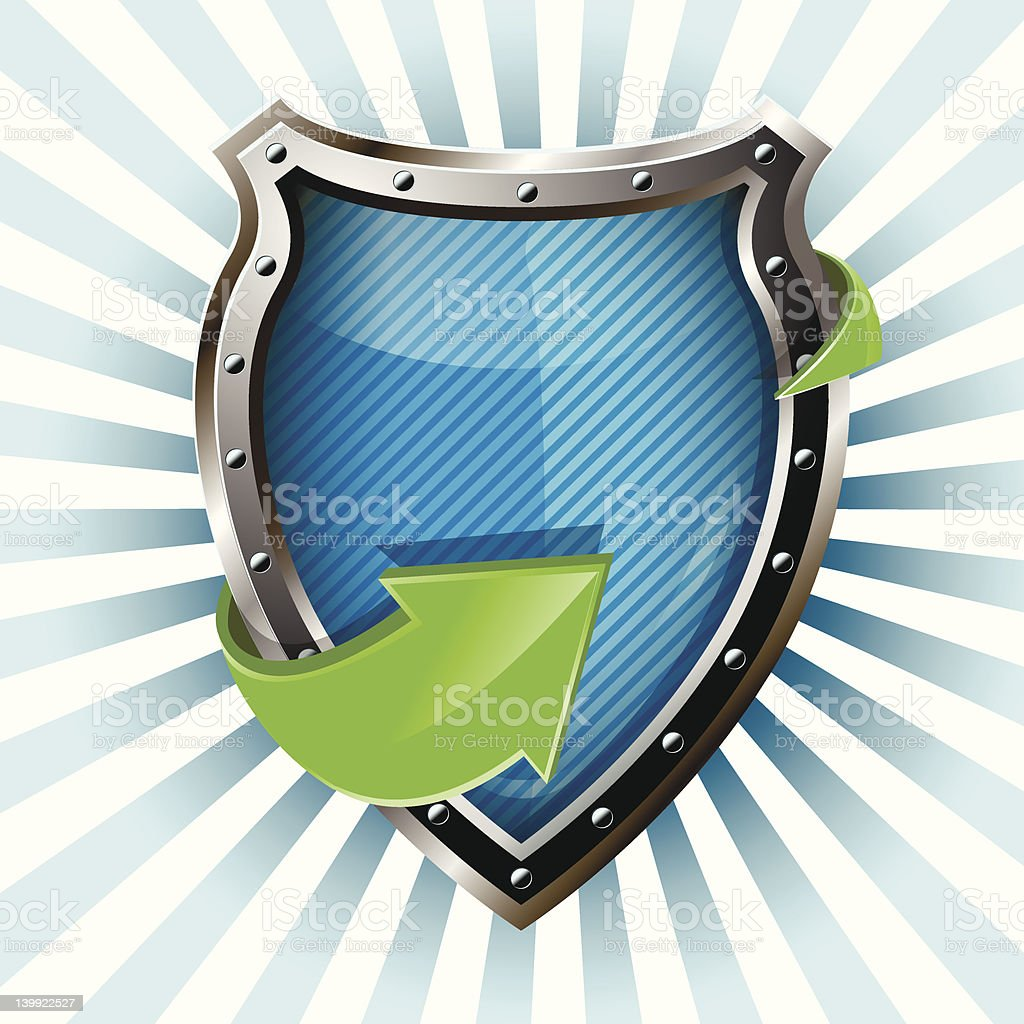 shield and green arrow royalty-free stock vector art