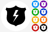 Shield and Lightning Icon on Flat Color Circle Buttons