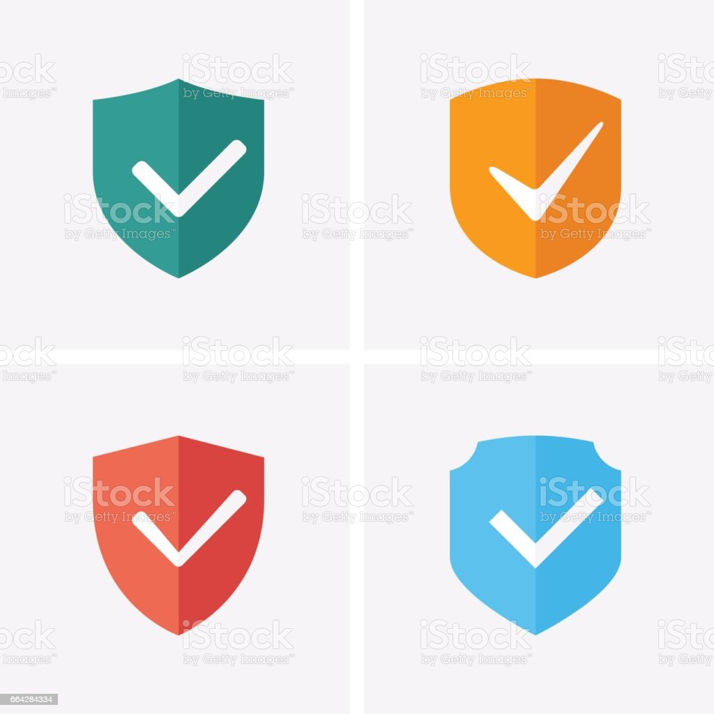 Shield and Tick Icons. Guaranteed Icons vector art illustration