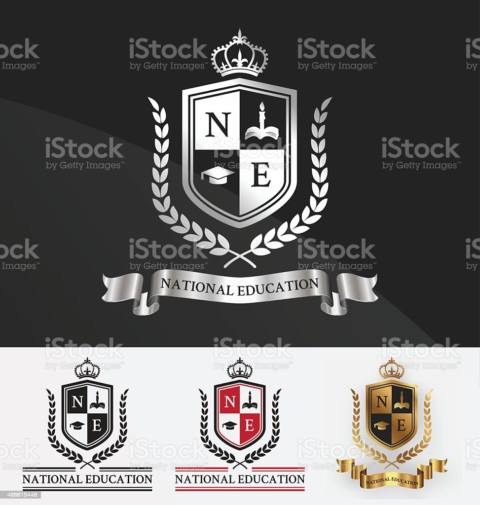 Shield and wreath laurel with crown crest logo design. vector art illustration