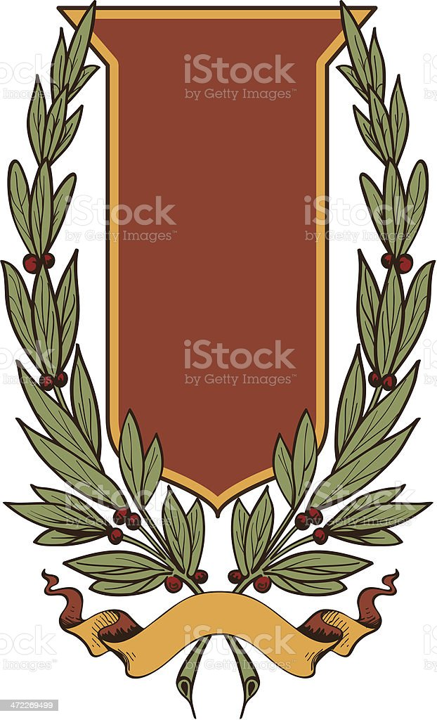 Shield and Wreath with Banner royalty-free stock vector art