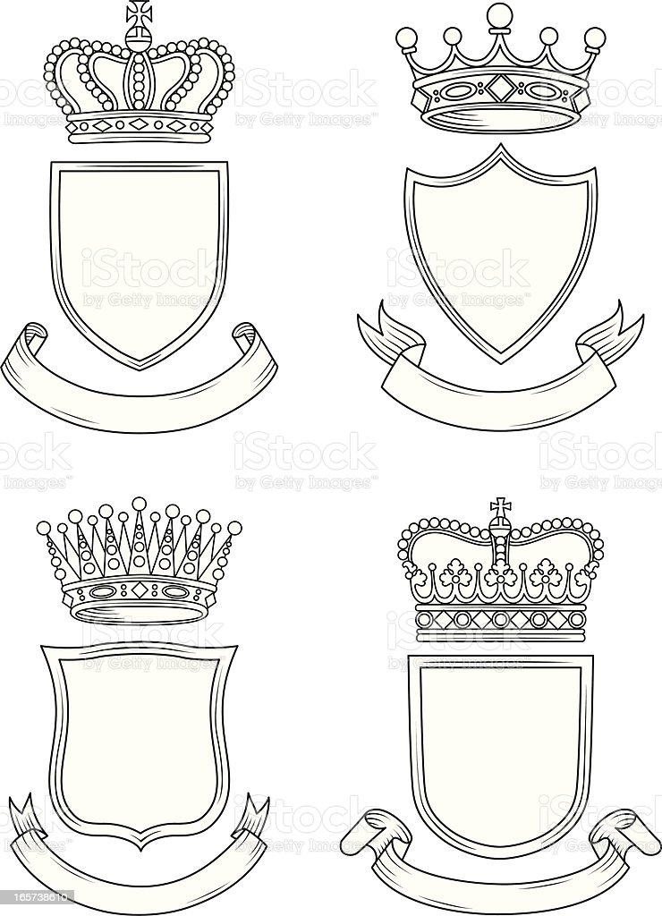 Shield, Banner, and Crown Set royalty-free stock vector art