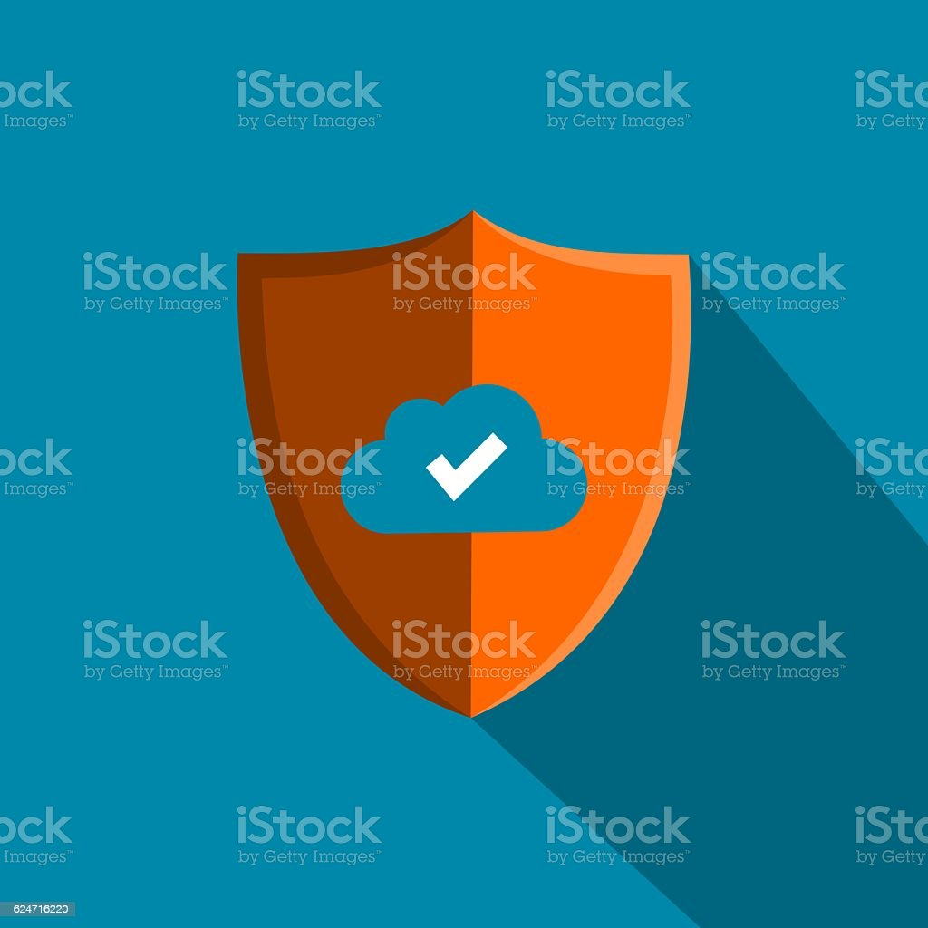 Shield Cloud Hosting Data Security Icon vector art illustration