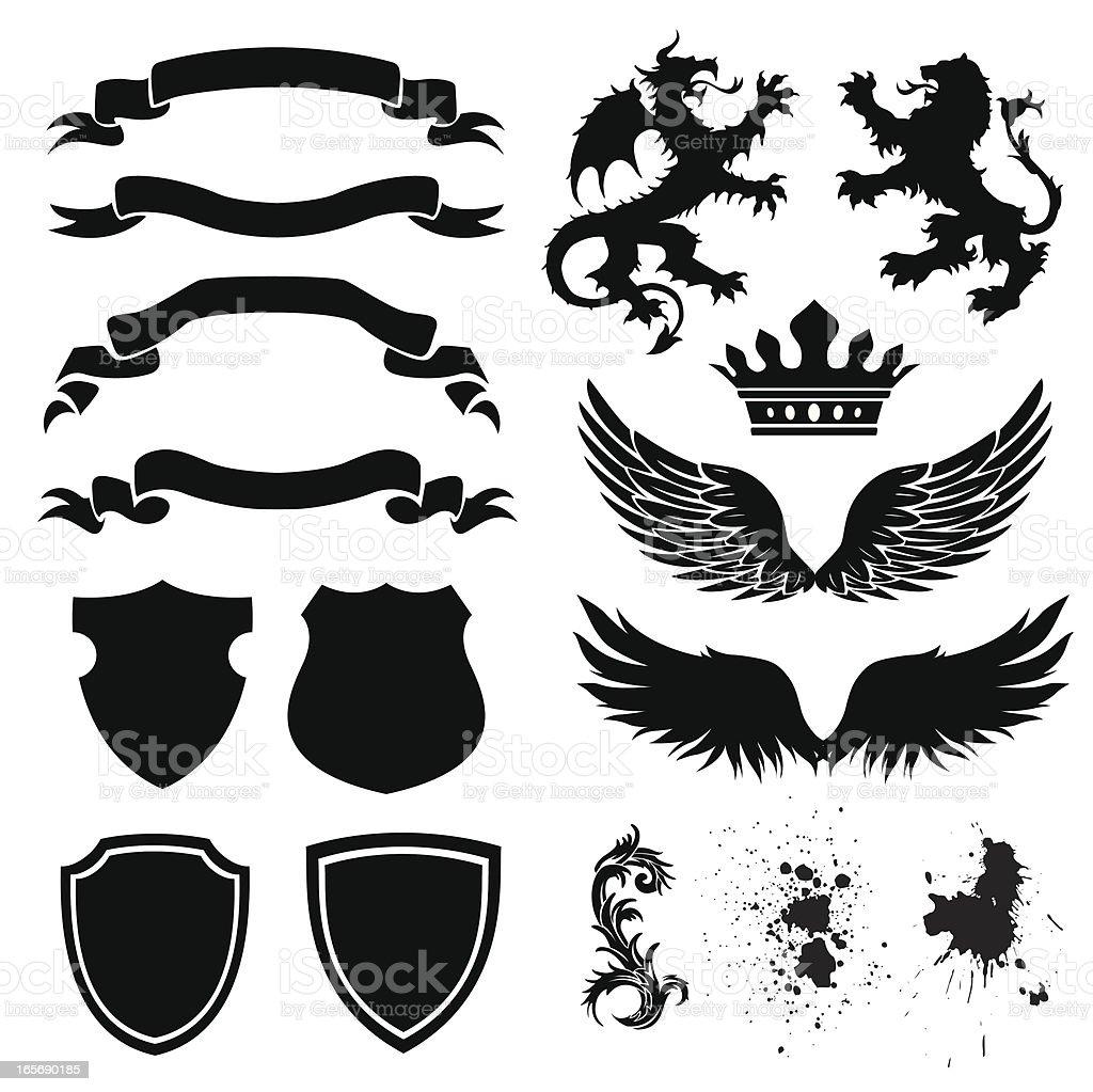 shield designs vector art illustration