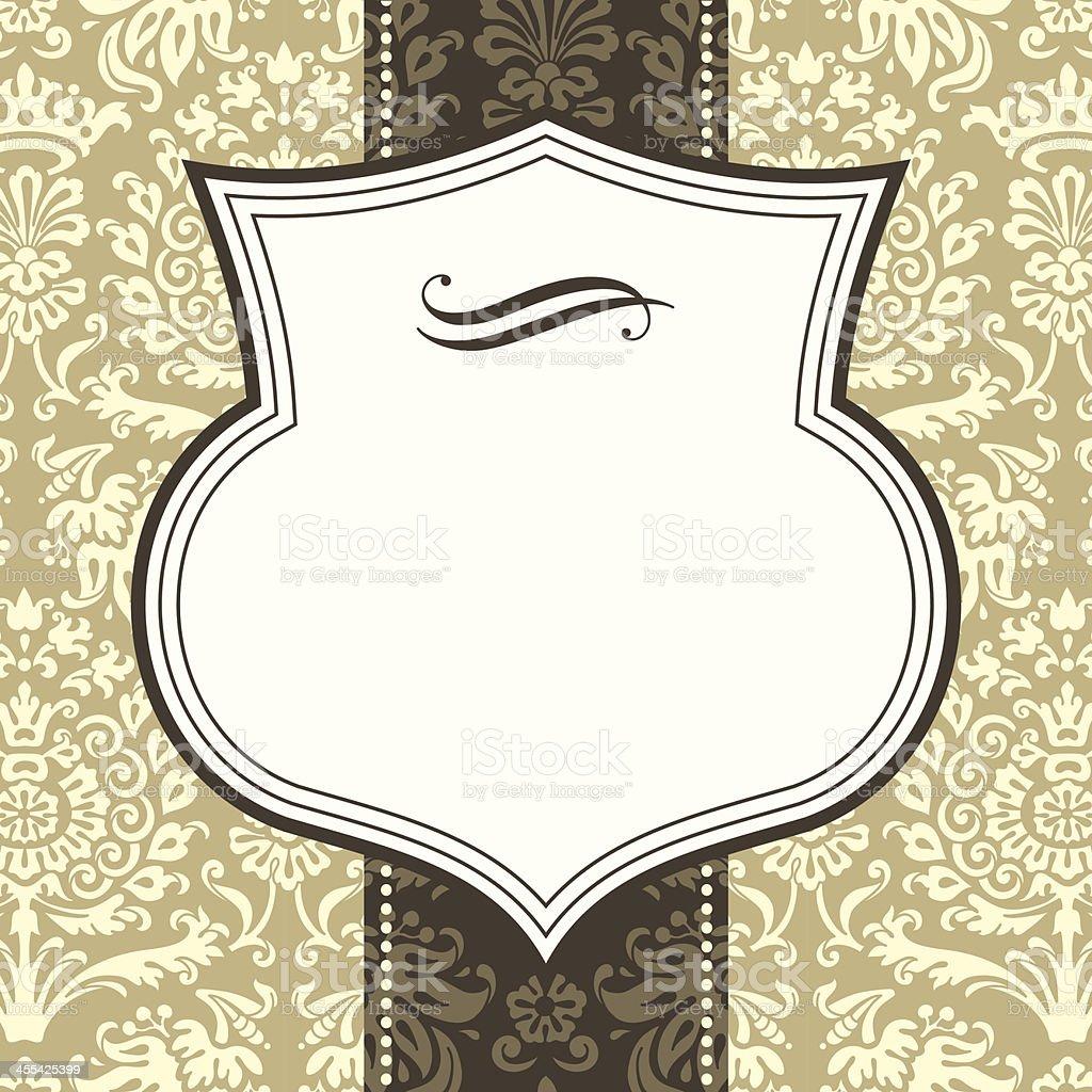 Shield Frame on Damask Background royalty-free stock vector art