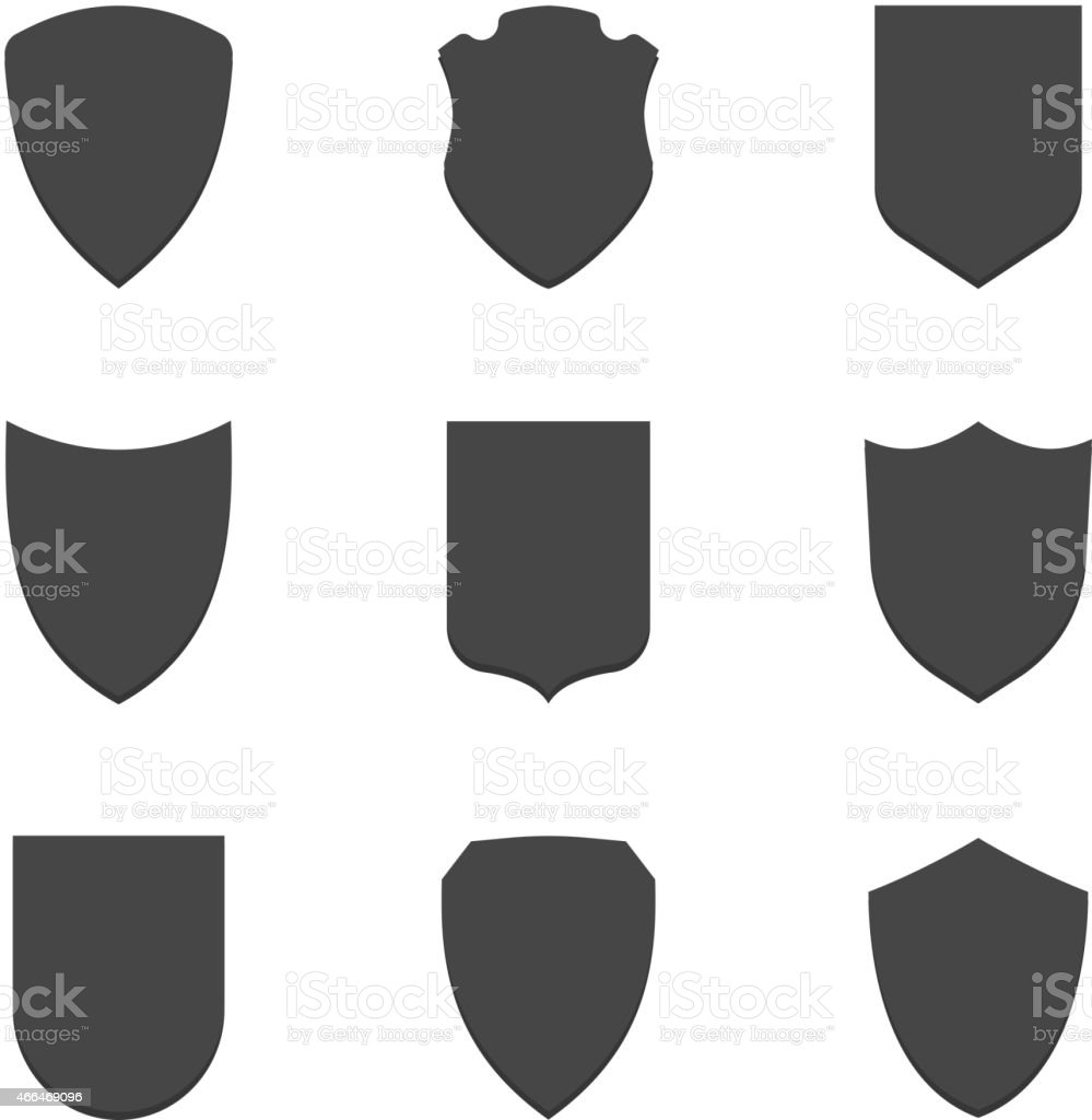 Shield frames simple icons set vector art illustration