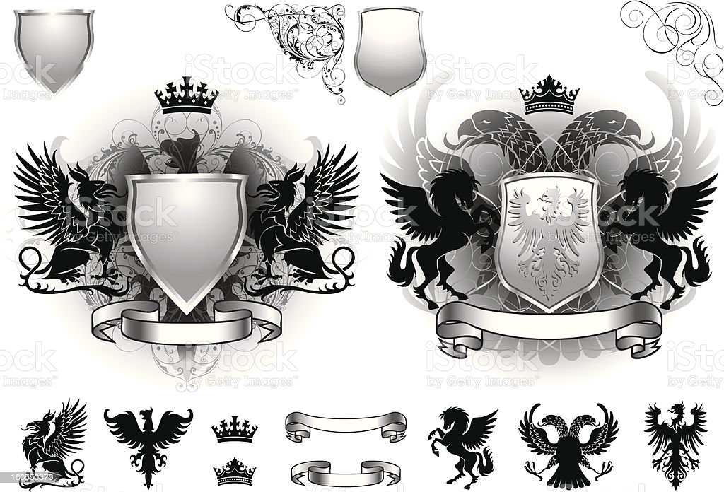 Shield gray heraldry royalty-free stock vector art