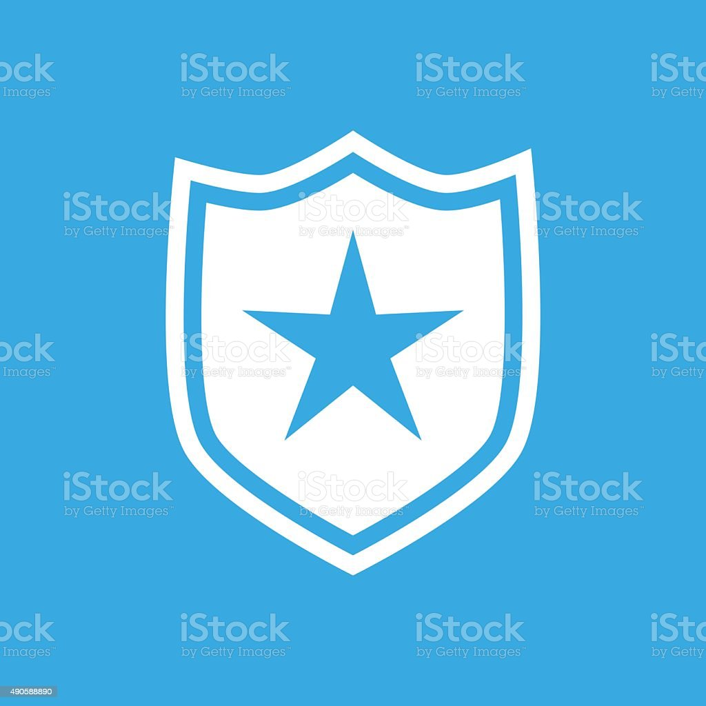 Shield icon on a blue background. - SmoothSeries vector art illustration