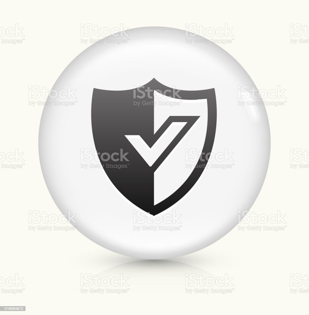 Shield icon on white round vector button vector art illustration