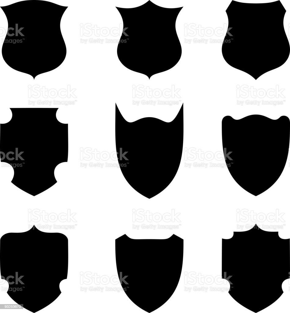 Shield  icon set. vector art illustration