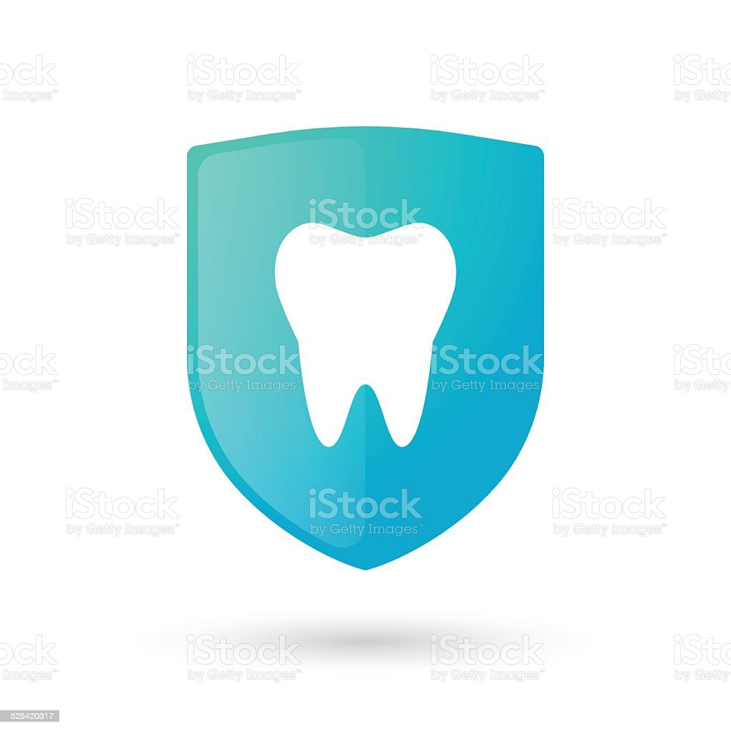 Shield icon with a tooth vector art illustration