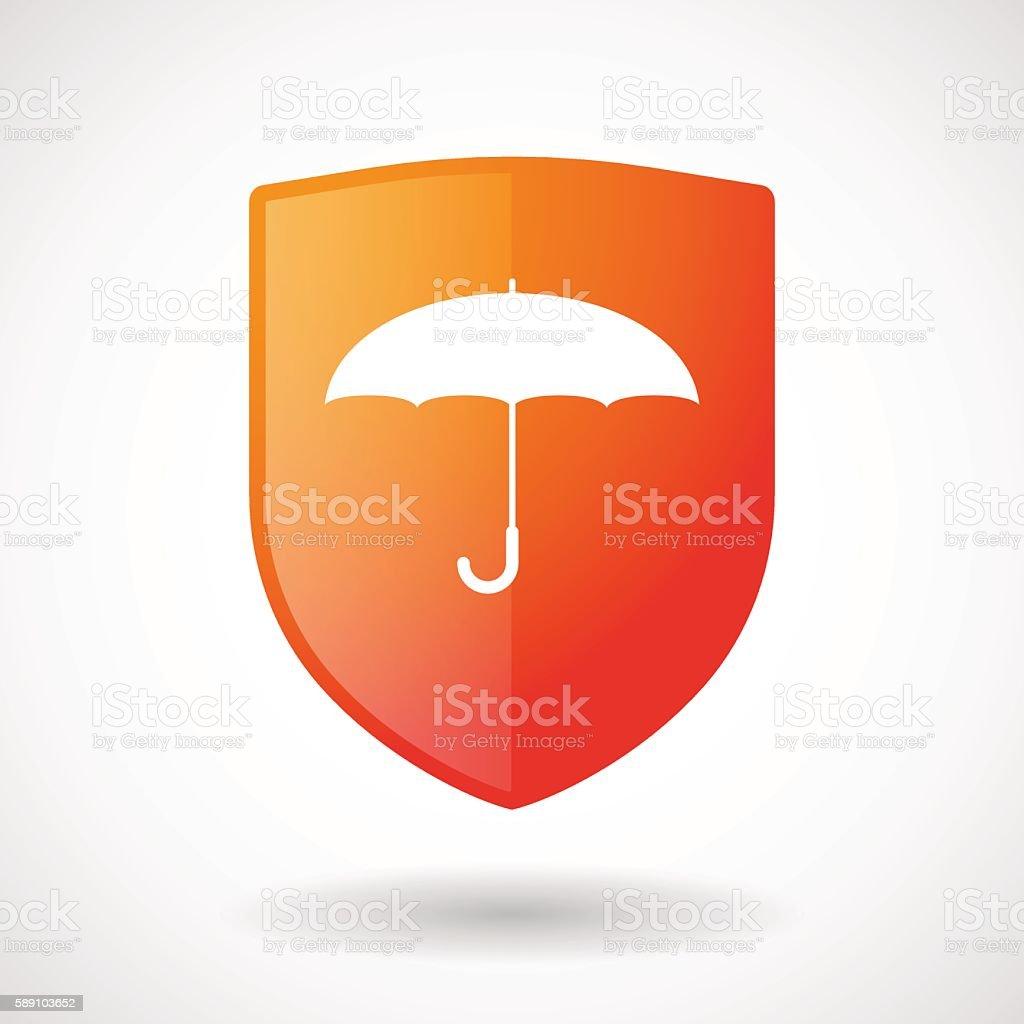 Shield icon with an umbrella vector art illustration