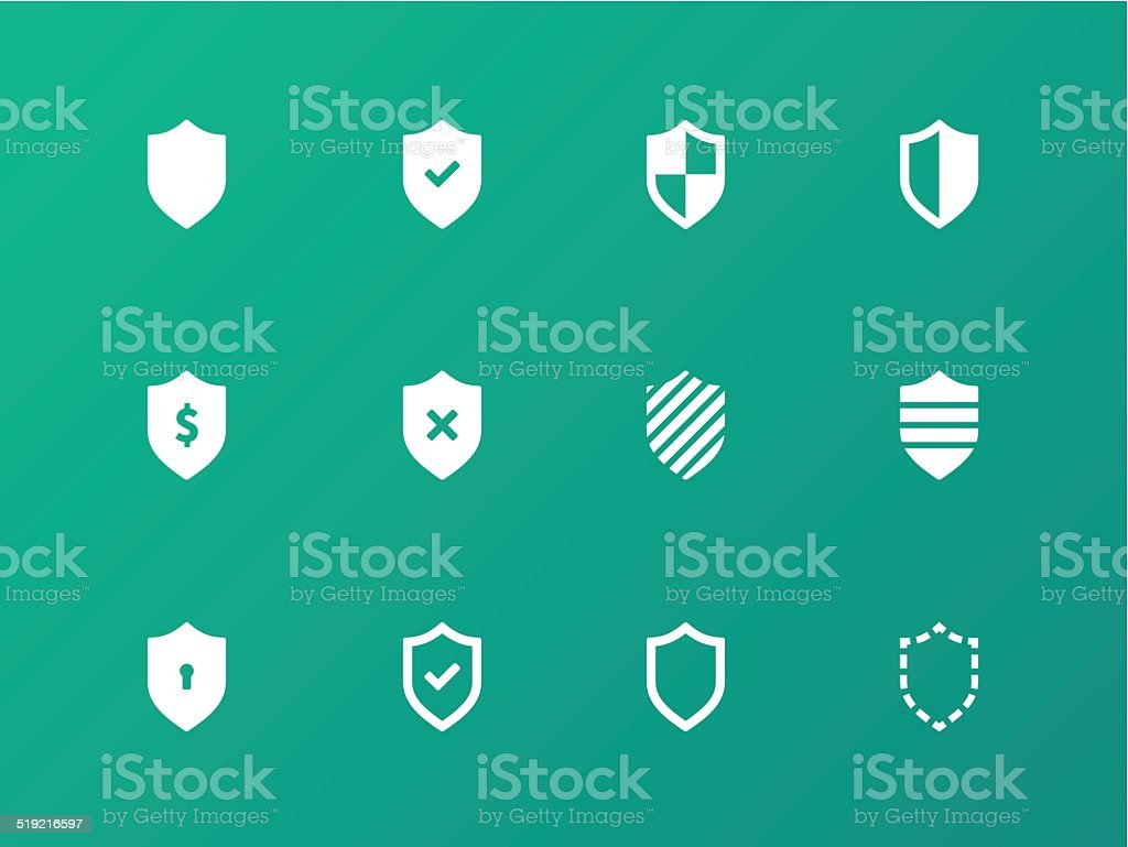 Shield icons on green background. vector art illustration