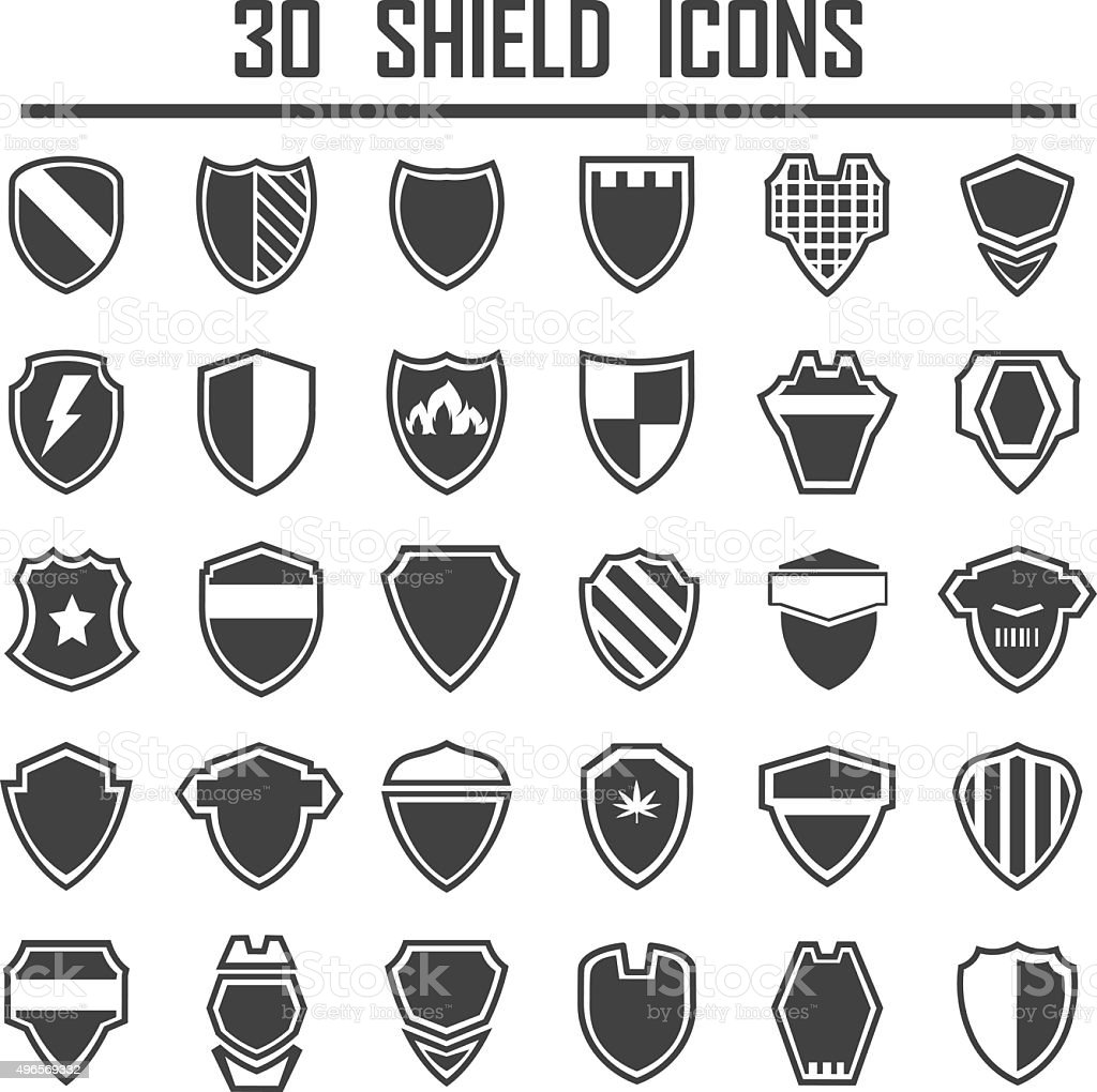 Shield icons set. vector art illustration