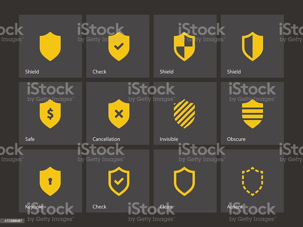 Shield icons. vector art illustration