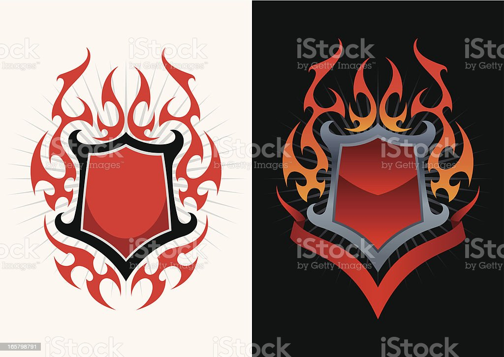 Shield in fire royalty-free stock vector art