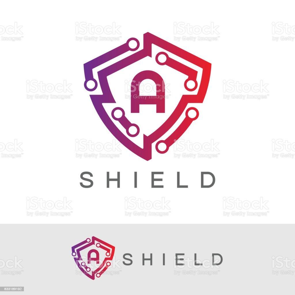 Shield initial Letter A icon design vector art illustration