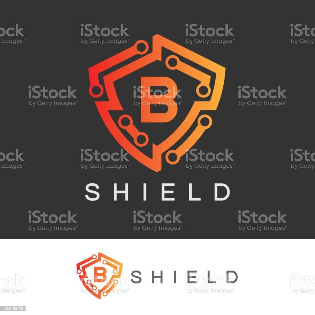 Shield initial Letter B icon design vector art illustration