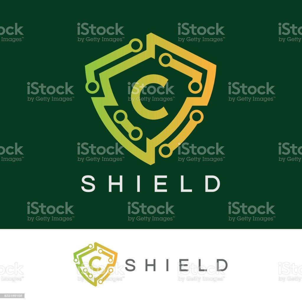 Shield initial Letter C icon design vector art illustration