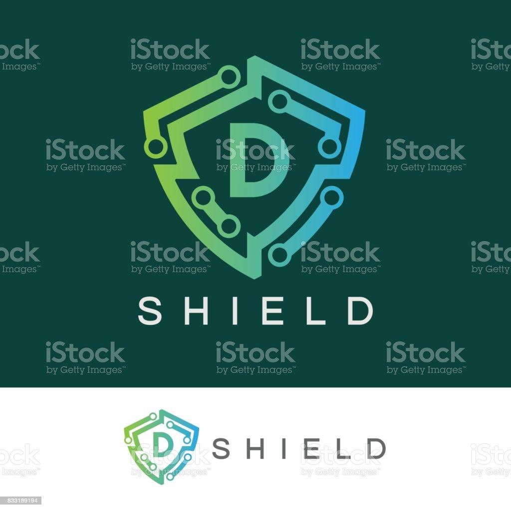 Shield initial Letter D icon design vector art illustration