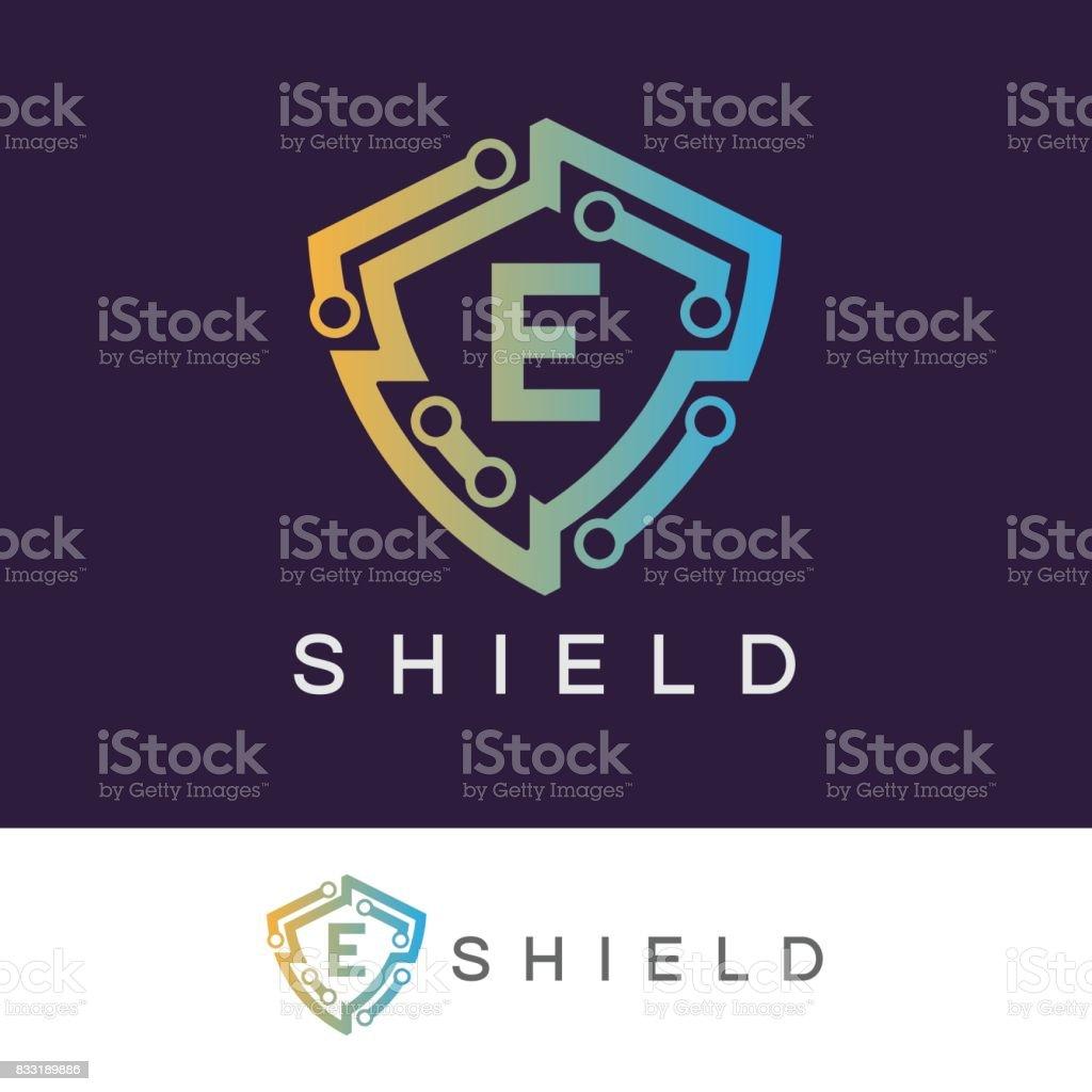 Shield initial Letter E icon design vector art illustration