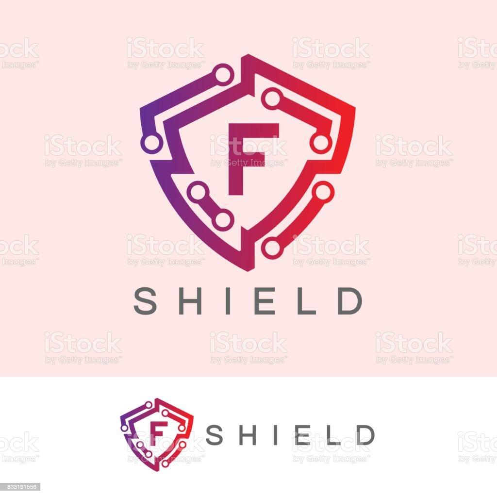 Shield initial Letter F icon design vector art illustration