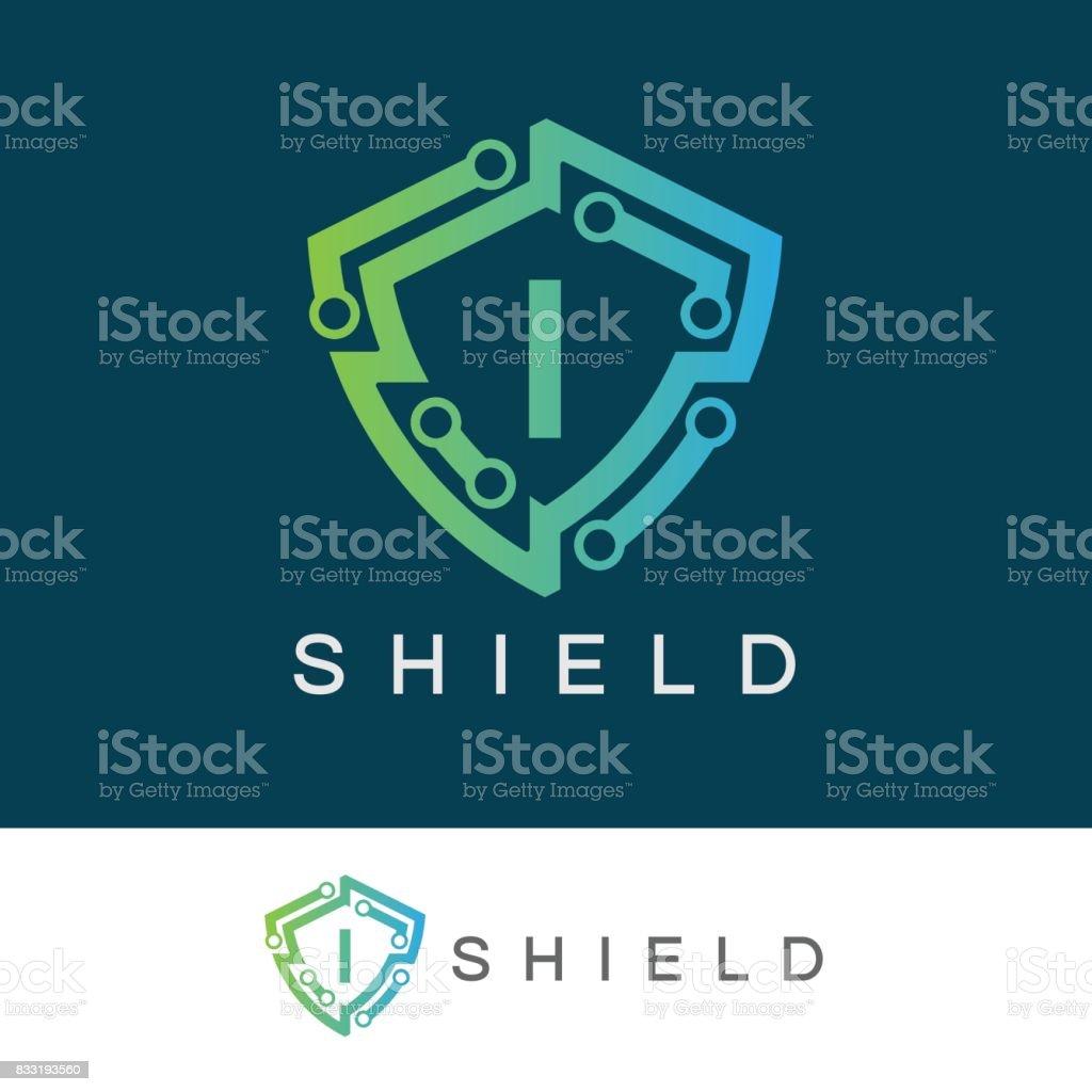 Shield initial Letter I icon design vector art illustration