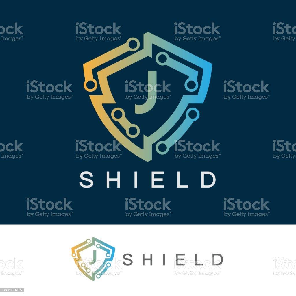 Shield initial Letter J icon design vector art illustration
