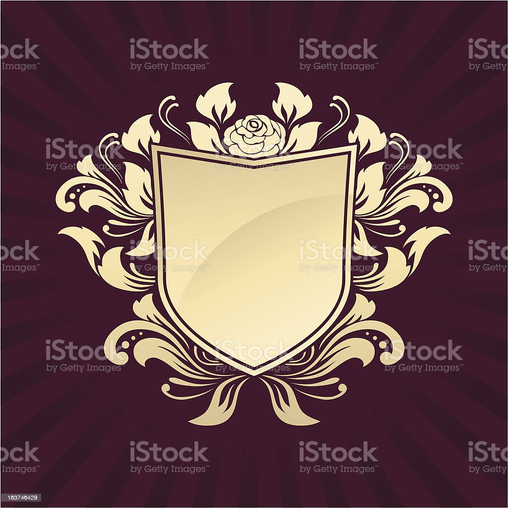 Shield Ornament Rose vector art illustration