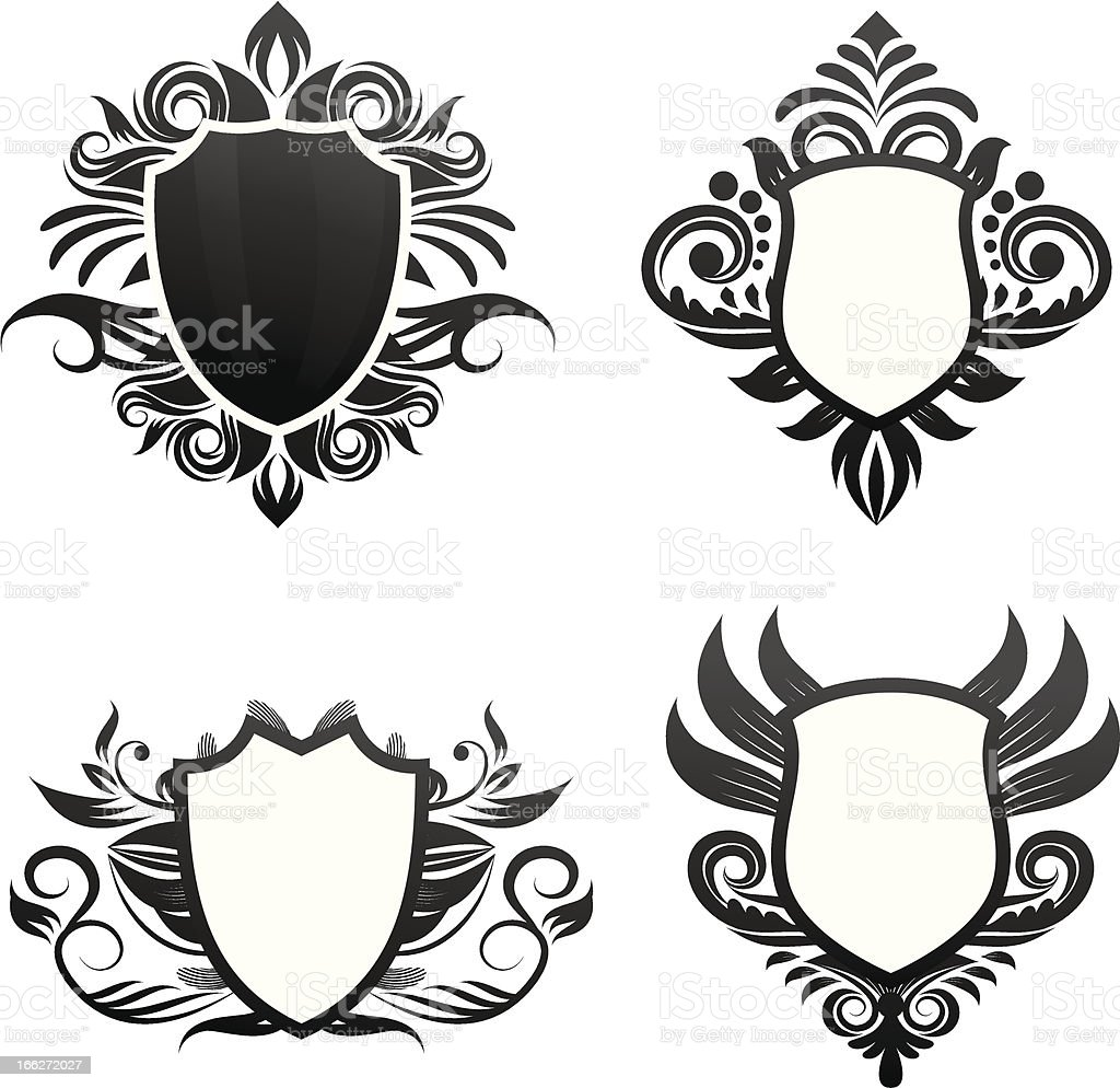 Shield Ornament Set vector art illustration