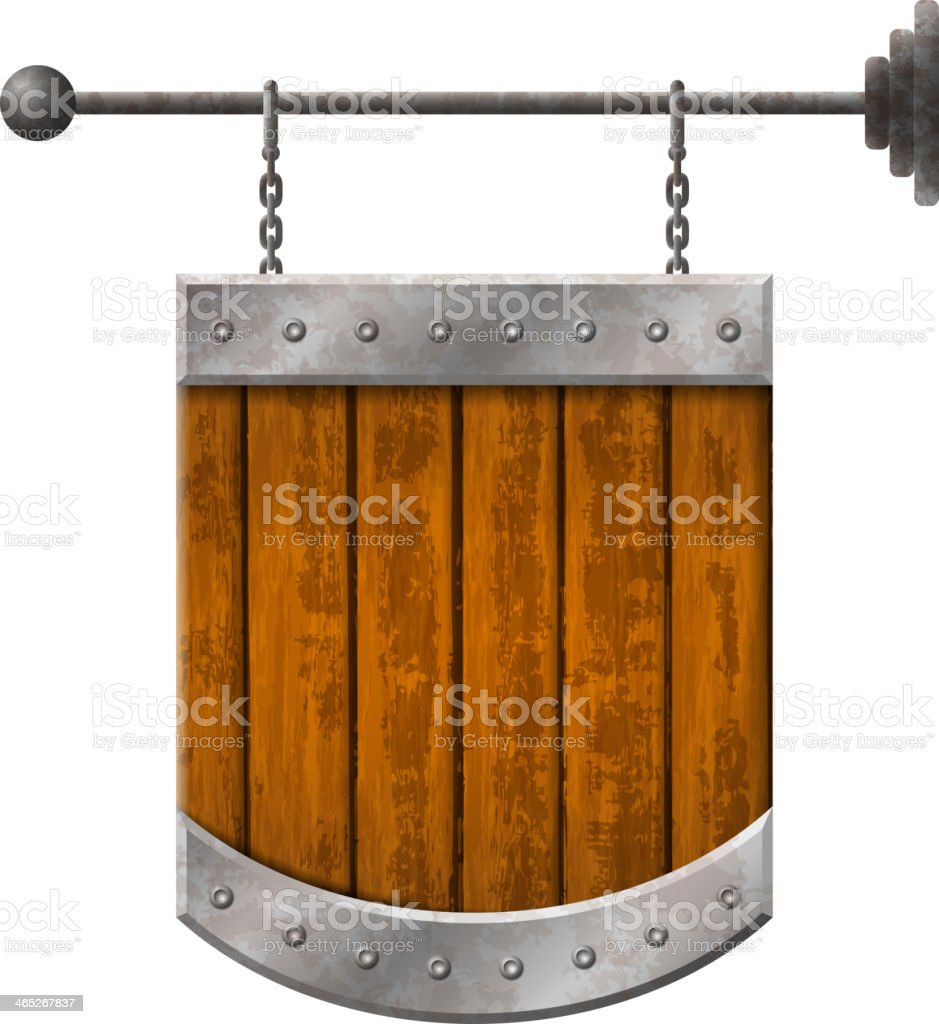 Shield shaped signboard with wooden planks royalty-free stock vector art