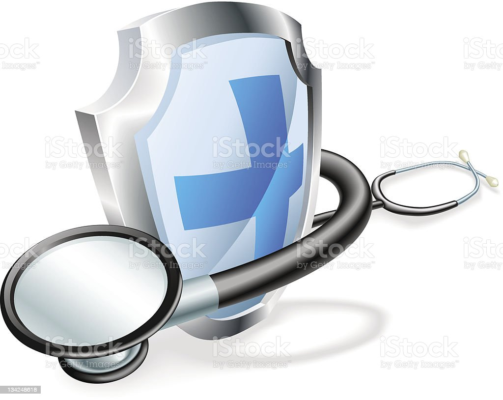 Shield stethoscope medical concept royalty-free stock vector art