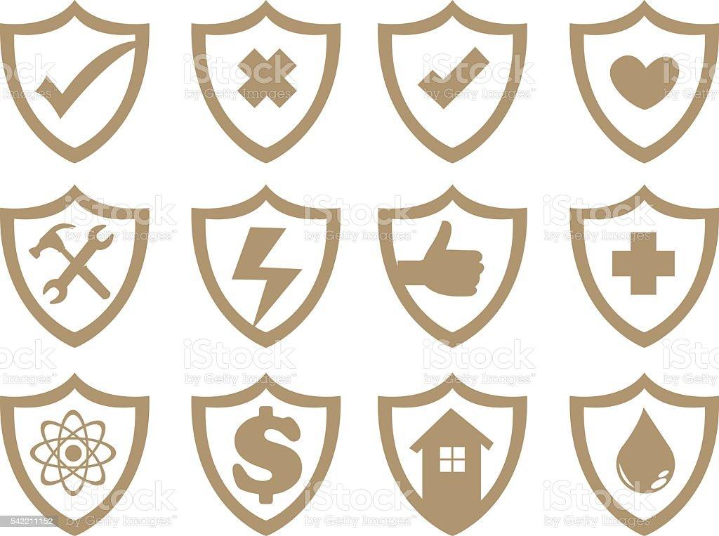 Shield Symbol Vector Icon Set vector art illustration