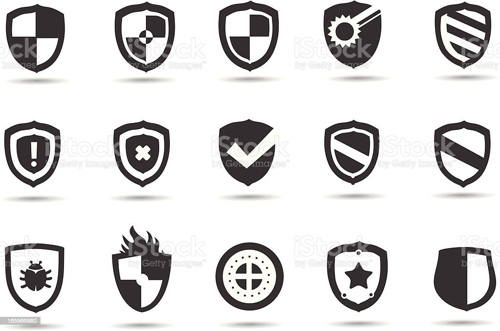 Shield Symbols vector art illustration