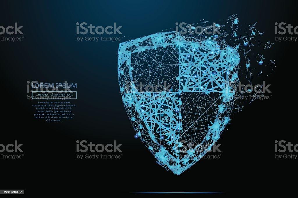 shield vector blue vector art illustration