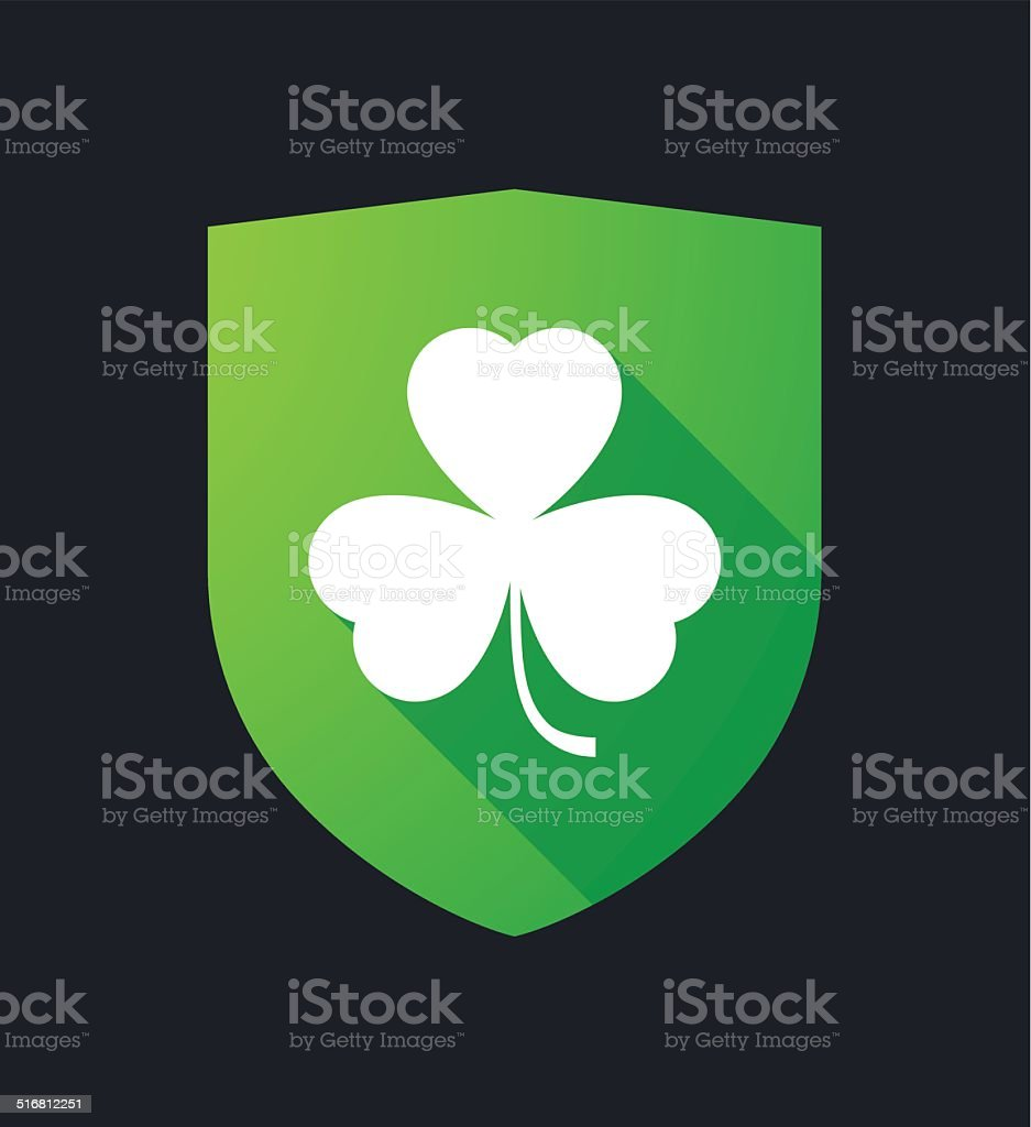Shield with a clover vector art illustration
