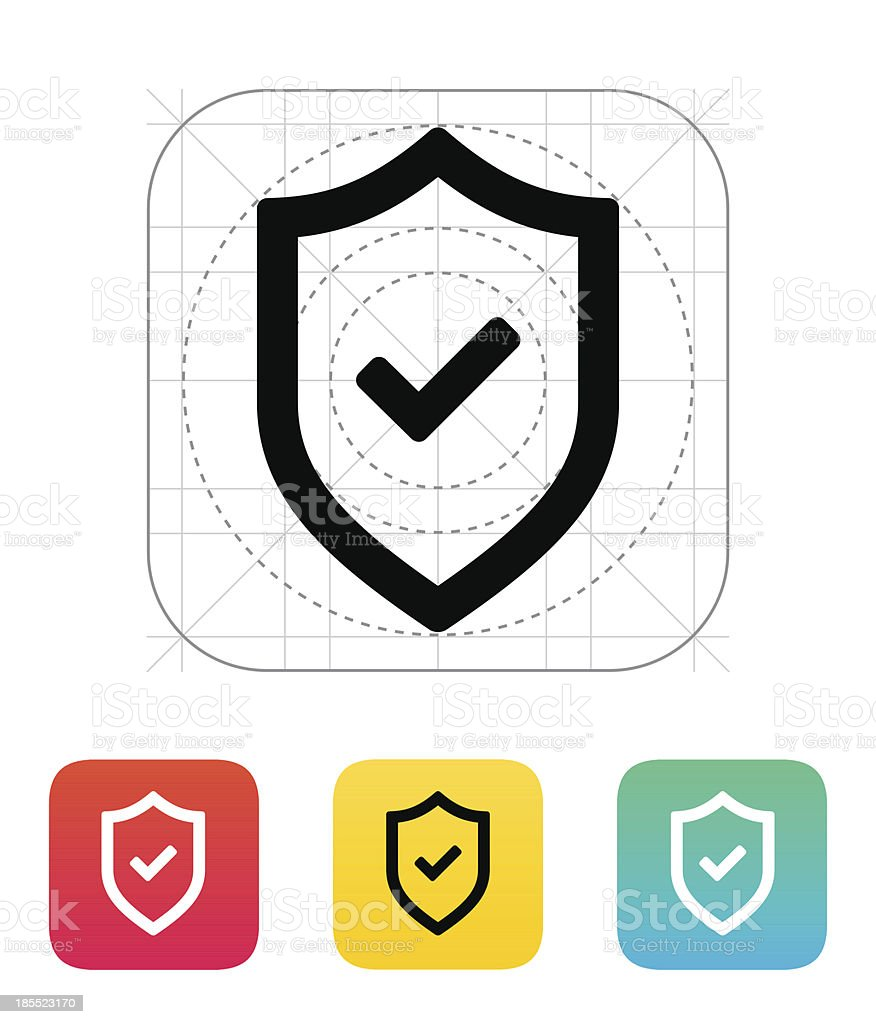 Shield with check mark icon. royalty-free stock vector art
