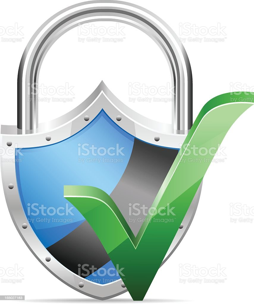 Shield with Check Mark royalty-free stock photo