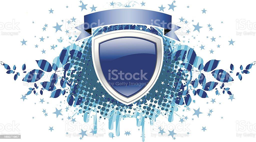 Shield with ribbon blue royalty-free stock vector art