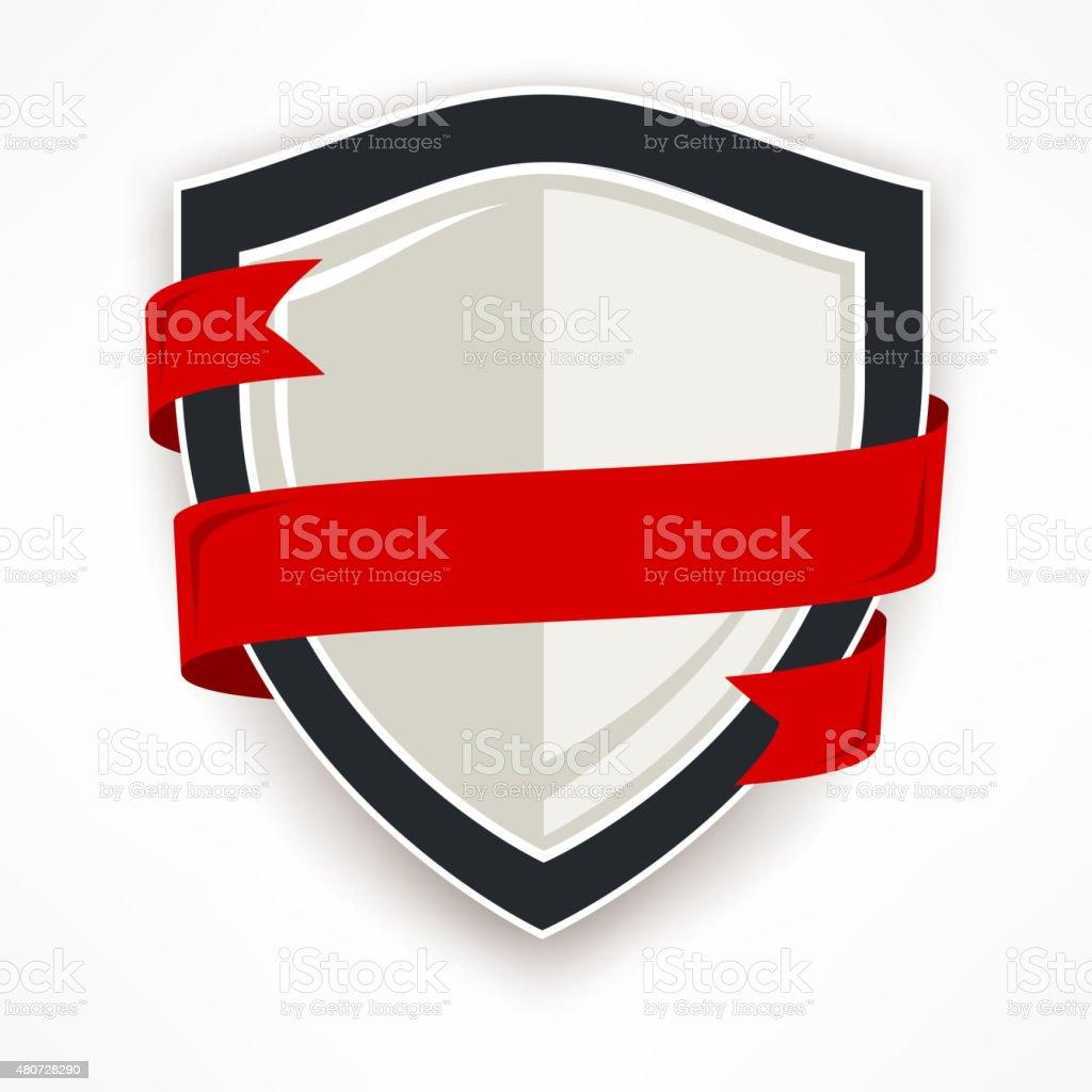 Shield with ribbon vector art illustration