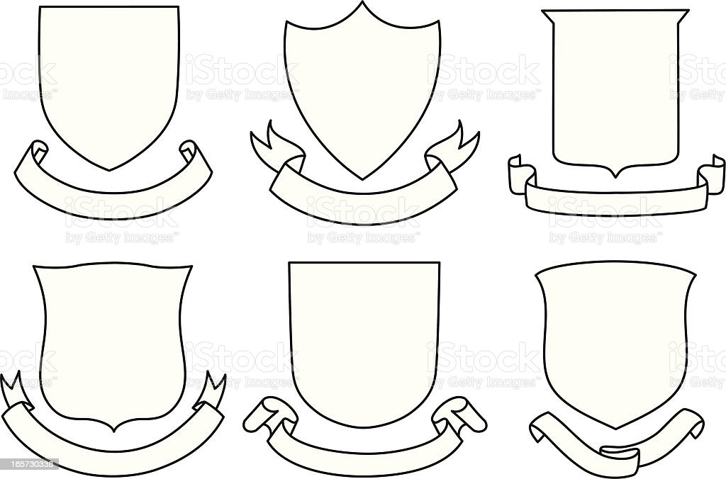 Shields and Banners Set royalty-free stock vector art