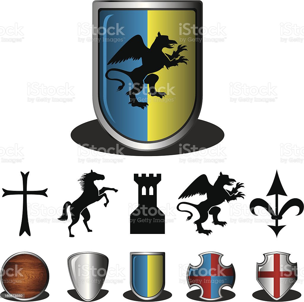 Shields and Coat of Arms royalty-free stock vector art