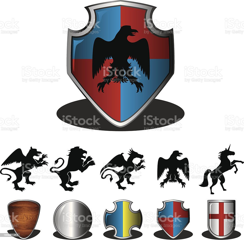 Shields and Coat of Arms vector art illustration