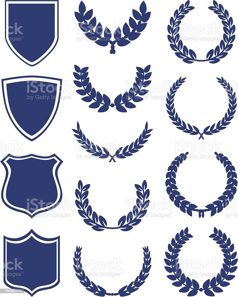 Shields And Laurel Wreaths vector art illustration