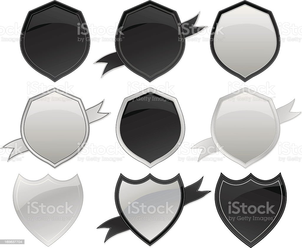 Shields and Ribbons Set - Silver, Black royalty-free stock vector art