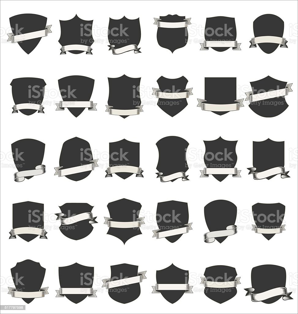 Shields and stylish retro ribbon collection isolated on white background vector art illustration